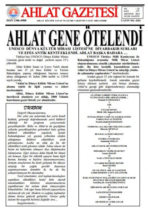 AHLAT GAZETESİ - SAYI 177 - AĞUSTOS 2015