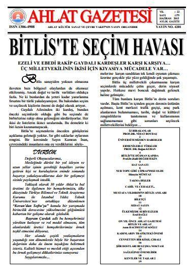 AHLAT GAZETESİ - SAYI 175 - HAZİRAN 2015