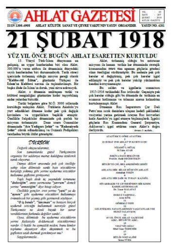 Ahlat Gazetesi, Sayı 207, Şubat 2018