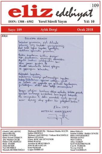 Eliz Edebiyat Dergisi, Sayı 109, Ocak 2018