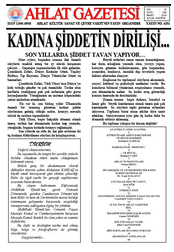 Ahlat Gazetesi, Sayı 208, Mart 2018