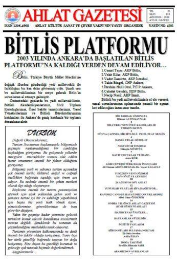 Ahlat Gazetesi, Sayı 213, Ağustos 2018