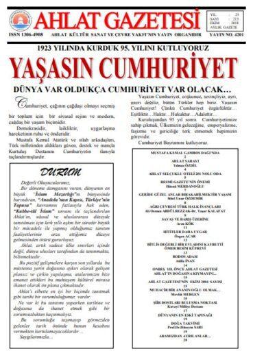 Ahlat Gazetesi, Sayı 215, Ekim 2018