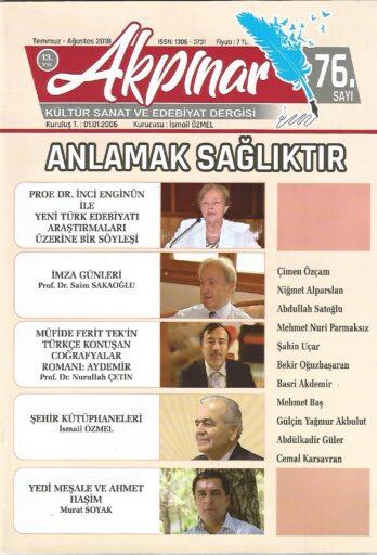 Akpınar Dergisi, Sayı 76, Temmuz Ağustos 2018