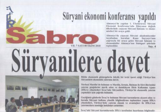 Sabro Gazetesi, Sayı 80, Ekim 2018