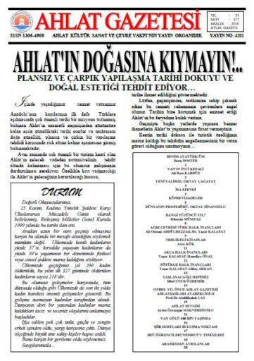 Ahlat Gazetesi, Sayı 217, Aralık 2018