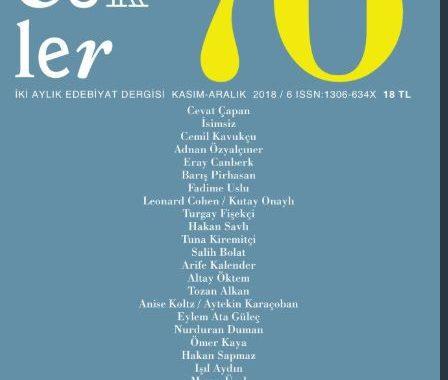 Sözcükler Dergisi, Sayı 76, Kasım Aralık 2018