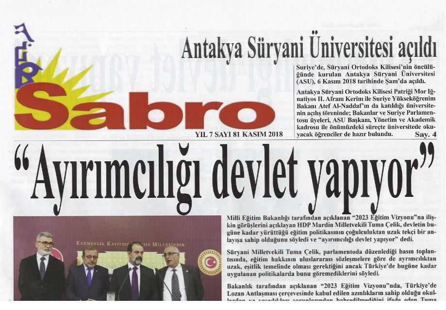 Sabro Gazetesi, Sayı 81, Kasım 2018