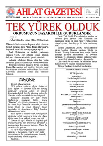 Ahlat Gazetesi, Sayı 128, Kasım 2019