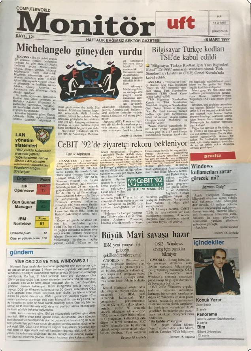 Computer World Monitör Gazetesi, 16 Mart 1992, Sayı 121