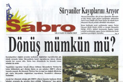 Sabro Gazetesi, Sayı 92, Ekim 2019
