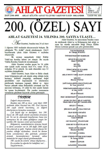Ahlat Gazetesi, Sayı 200