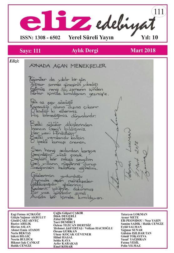 Eliz Edebiyat Dergisi, Sayı 111, Mart 2018