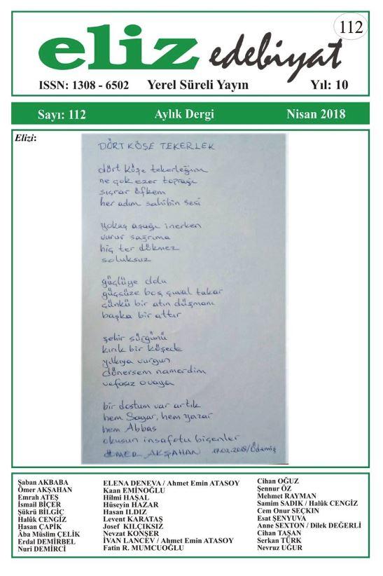 Eliz Edebiyat Dergisi, Sayı 112, Nisan 2018