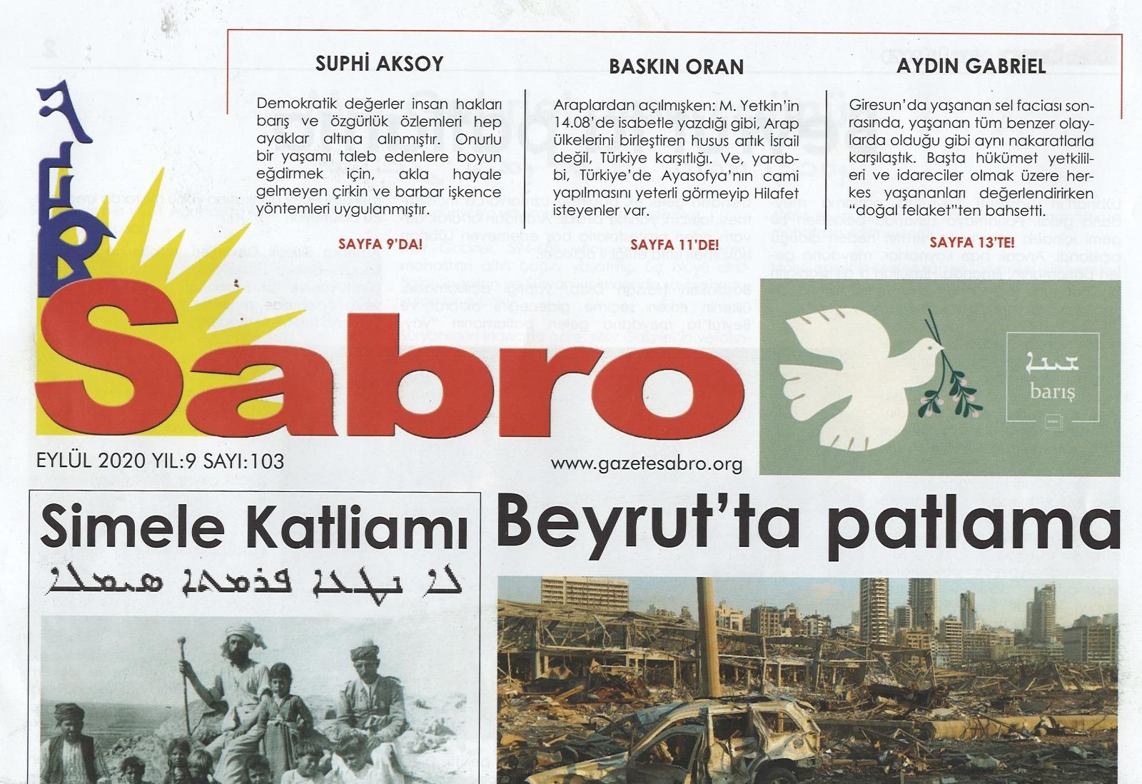 Sabro Gazetesi, Eylül 2020, Sayı 103
