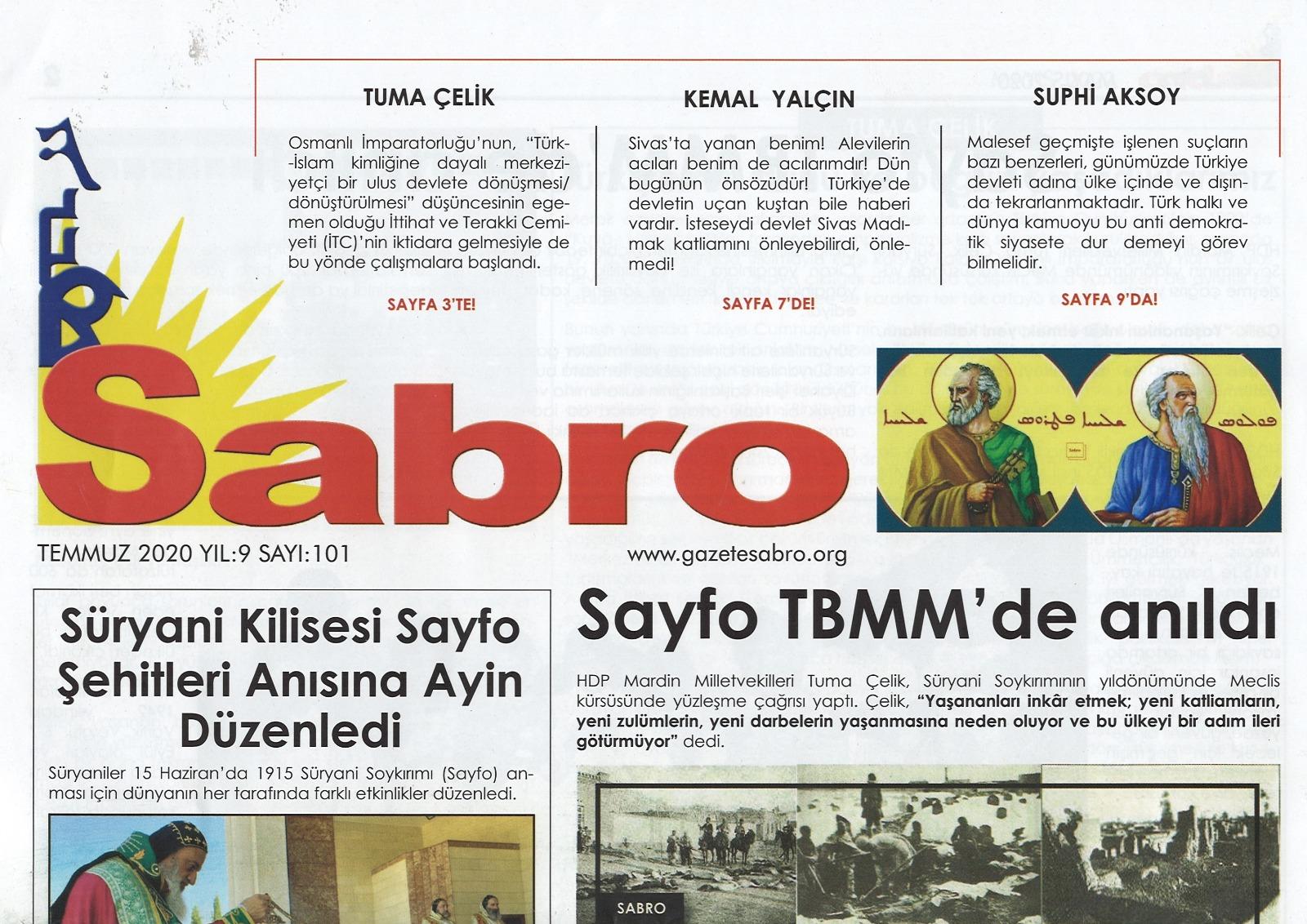 Sabro Gazetesi, Temmuz 2020, Sayı 101