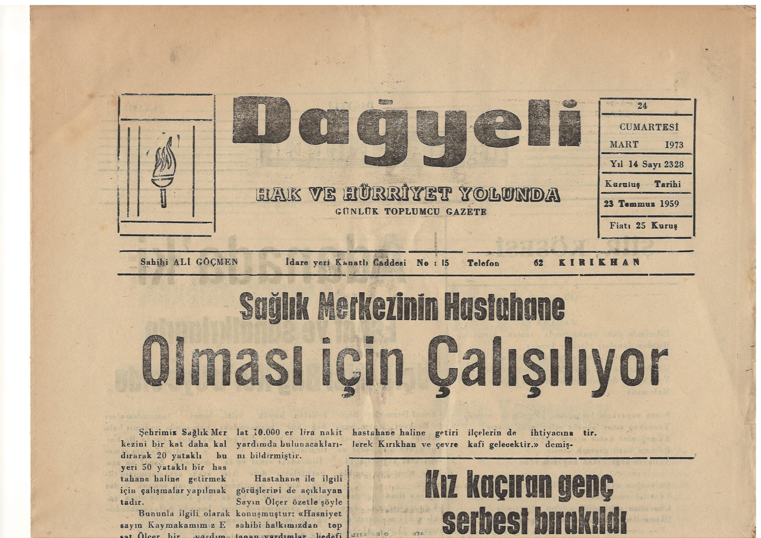 Hatay, Kırıkhan, Dağyeli Gazetesi, 24 Mart 1973