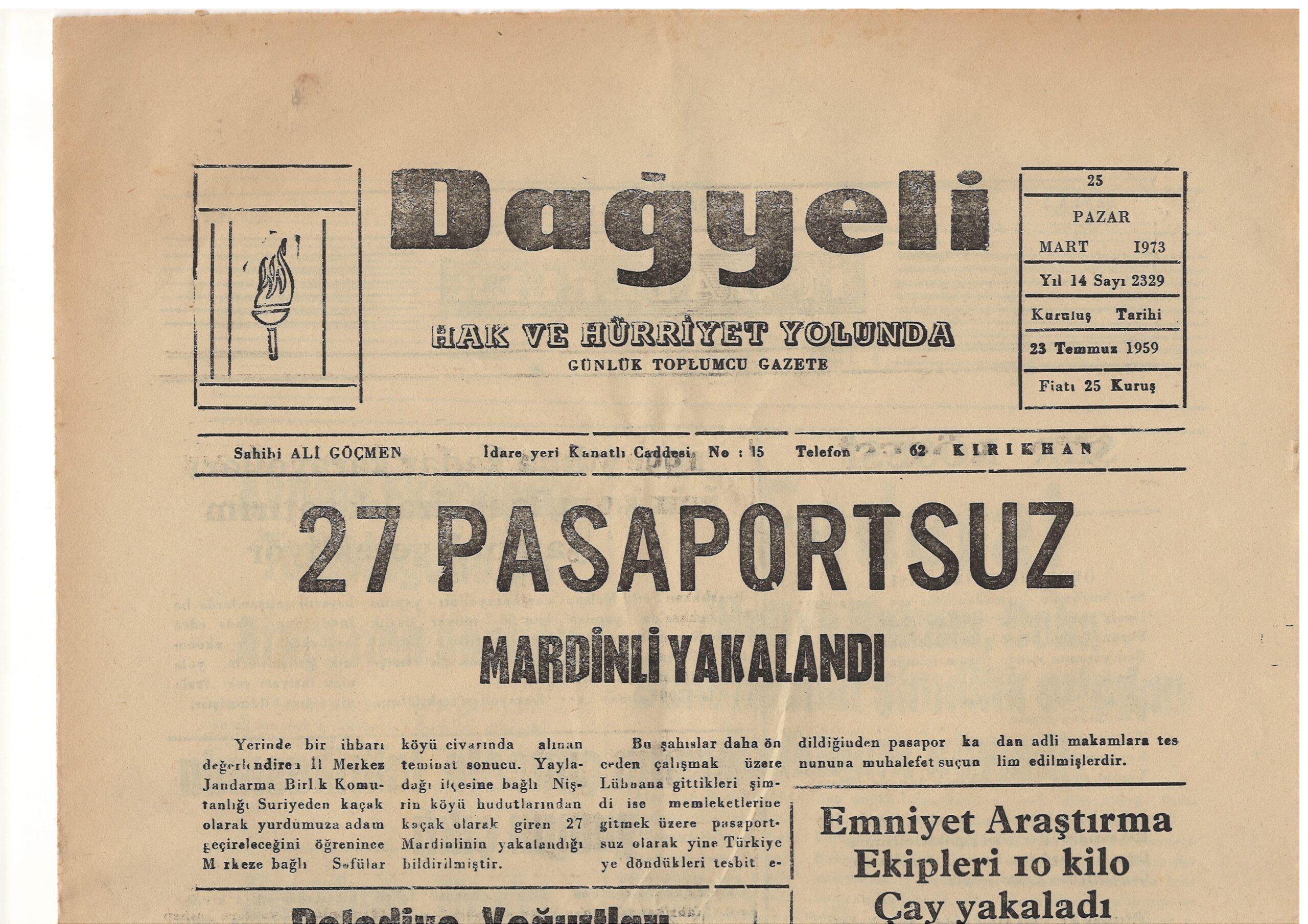 Hatay, Kırıkhan, Dağyeli Gazetesi, 25 Mart 1973