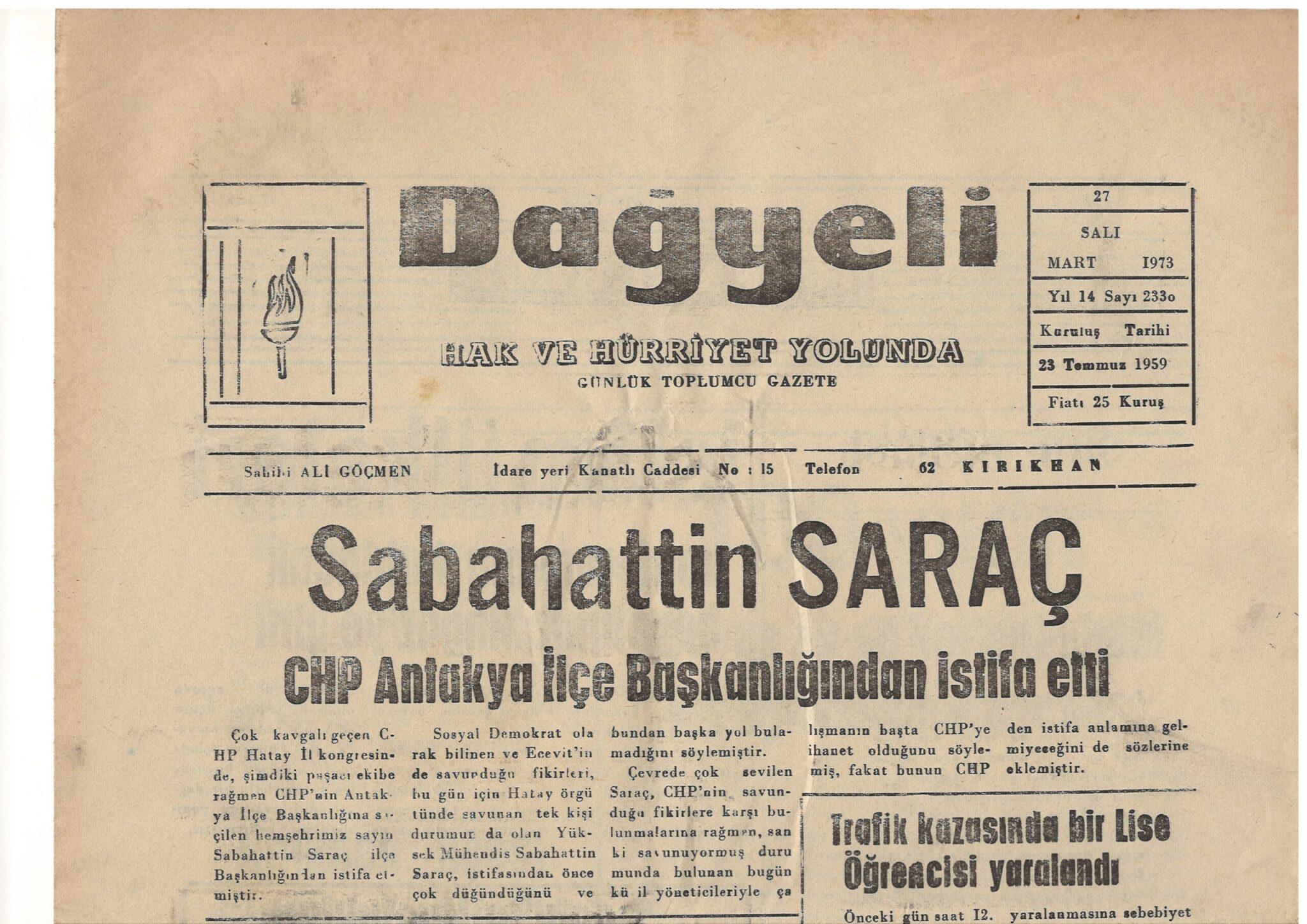 Hatay, Kırıkhan, Dağyeli Gazetesi, 27 Mart 1973